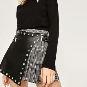 Zara leather and plaid skirt/skort!